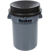 32 Gallon Gray/Black Round Trash Can with Black Funnel Top Lid