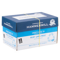 Hammermill 86702 Great White 8 1/2 inch x 11 inch White Ream of 3-Hole Punched 20# Recycled Copy Paper - 10/Case