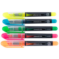 Universal UNV08840 Liquid Chisel Tip Pen Style Highlighter, Color Assortment - 5/Pack