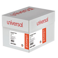Universal UNV15851 11 inch x 14 7/8 inch Green Bar Carton of 18# Perforated Continuous Print Computer Paper