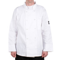 Chef Revival J100-2X Size 52 (2X) Customizable White Double-Breasted Chef Coat - Poly-Cotton Blend