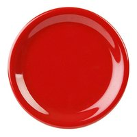Thunder Group CR110PR 10 1/2 inch Pure Red Narrow Rim Melamine Plate - 12/Pack