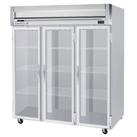 Beverage Air HFP3-5G-LED 3 Section Glass Door Reach-In Freezer - 74 cu. ft., Stainless Steel Exterior