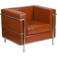 Flash Furniture ZB-REGAL-810-1-CHAIR-COG-GG Hercules Regal Cognac Contemporary Leather Chair with Stainless Steel Frame