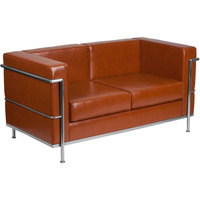 Flash Furniture ZB-REGAL-810-2-LS-COG-GG Hercules Regal Cognac Contemporary Leather Loveseat with Stainless Steel Frame