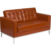 Flash Furniture ZB-LACEY-831-2-LS-COG Hercules Lacey Cognac Contemporary Leather Loveseat with Stainless Steel Frame