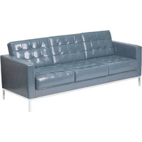 Flash Furniture ZB-LACEY-831-2-SOFA-GY-GG Hercules Lacey Gray Contemporary Leather Sofa with Stainless Steel Frame