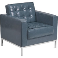 Flash Furniture ZB-LACEY-831-2-CHAIR-GY-GG Hercules Lacey Gray Contemporary Leather Chair with Stainless Steel Frame