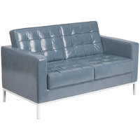 Flash Furniture ZB-LACEY-831-2-LS-GY-GG Hercules Lacey Gray Contemporary Leather Loveseat with Stainless Steel Frame