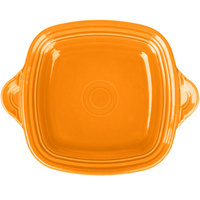 Homer Laughlin 1456325 Fiesta Tangerine 10 3/4 inch Square Tray with Handles - 4/Case