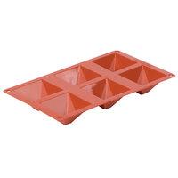 Matfer Bourgeat 257921 Gastroflex Orange Silicone 6 Compartment Pyramid Mold