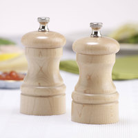 Chef Specialties 04302 Professional Series 4 inch Customizable Capstan Natural Maple Pepper Mill and Salt Mill Set