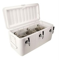Micro Matic CB103W White 3 Faucet 100 Qt. Insulated Jockey Box with 100 ft. Coils