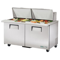 True TSSU-60-24M-B-ST-HC 60 inch 2 Door Mega Top Refrigerated Sandwich Prep Table