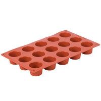 Matfer Bourgeat 257914 Gastroflex Orange Silicone 15 Compartment 1 oz. Mini Muffin Mold