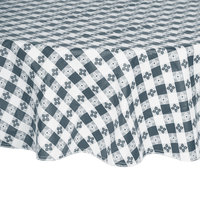 Intedge 60 inch Round Blue Checkered Gingham Vinyl Table Cover with Flannel Back