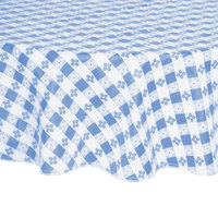 60 inch Round Blue-Checkered Vinyl Table Cover with Flannel Back