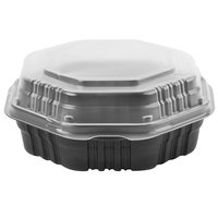 Dart Solo 807011-PP94 Creative Carryouts OctaView Supreme 8 inch x 8 inch x 3 inch Black Microwaveable Plastic Hinged Take-Out Container   - 100/Case