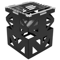 Eastern Tabletop 1742BK LeXus 8 inch x 8 inch x 10 inch Black Steel Cube with Fuel Shelf and Grate