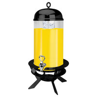 Eastern Tabletop 78405-LB Luminous 5 Gallon Round Black Steel Beverage Dispenser with Acrylic Container and Ice Core