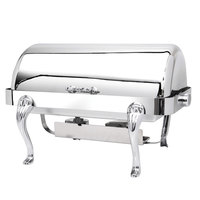 Eastern Tabletop 3114QA-SS Queen Anne 8 Qt. Rectangular Stainless Steel Roll Top Induction / Traditional Chafer