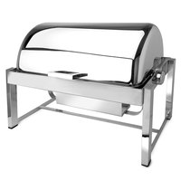 Eastern Tabletop 3144 P2 8 Qt. Rectangular Stainless Steel Roll Top Induction / Traditional Chafer