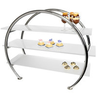 Eastern Tabletop 1755AC 33 inch x 13 5/8 inch x 27 1/2 inch Stainless Steel 3 Tier Circular Tabletop Display Stand with Acrylic Shelves