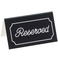 Cal-Mil 273-2 5 inch x 3 inch Black/White Double-Sided Reserved Tent Sign