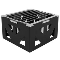 Eastern Tabletop 1741BK LeXus 8 inch x 8 inch x 5 inch Black Steel Cube with Fuel Shelf and Grate