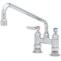 T&S B-0225 Deck Mounted Pantry Faucet with 4 inch Adjustable Centers, 12 inch Swing Nozzle, and Eterna Cartridges