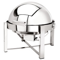 Eastern Tabletop 3148 P2 8 Qt. Round Stainless Steel Roll Top Induction / Traditional Chafer