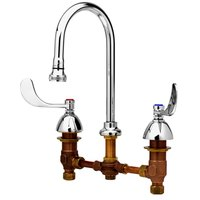 T&S B-0865-04 Deck Mounted Medical Lavatory Faucet on 8 inch Centers with Eterna Cartridges, 4 inch Wrist Action Handles, Rigid Gooseneck, and Rosespray ADA Compliant
