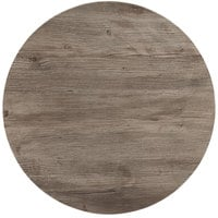 Grosfillex 99832076 X1 30 inch Round Aged Oak Outdoor Molded Melamine Table Top