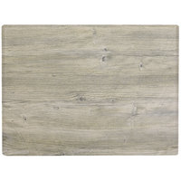 Grosfillex 99531071 X1 24 inch x 32 inch Rectangular White Oak Outdoor Molded Melamine Table Top