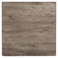 Grosfillex 99525076 X1 24 inch Square Aged Oak Outdoor Molded Melamine Table Top
