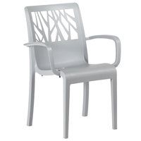 Grosfillex US211195 / US200195 Vegetal Gray Stone Stacking Arm Chair