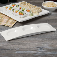 Carlisle HAL1202 Halcyon 11 inch x 3 3/4 inch Bone White 3 Compartment Melamine Tray - 6/Case