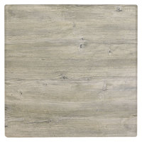 Grosfillex 99525071 X1 24 inch Square White Oak Outdoor Molded Melamine Table Top