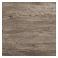 Grosfillex 99842176 32 inch Square Aged Oak Outdoor Molded Melamine X1 Table Top