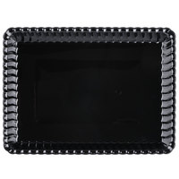 Fineline 293-BK Flairware 9 inch x 13 inch Black Plastic Rectangular Tray - 48/Case