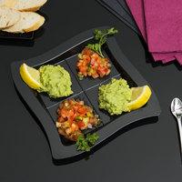 Fineline Tiny Temptations 6206-BK 7 1/4 inch x 7 1/4 inch Tiny Tangents Disposable Black Plastic Tray - 120/Case