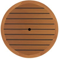 Grosfillex UT255008 42 inch Round Teak Outdoor Molded Melamine Table Top with Umbrella Hole