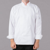 Mercer Culinary M61010WHM Genesis Unisex 40 inch Medium Customizable White Double Breasted Traditional Neck Long Sleeve Chef Jacket with Traditional Buttons