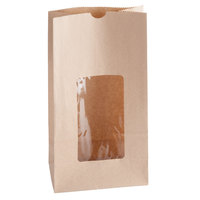 6 lb. Brown Kraft Paper Cookie / Coffee / Donut Bag with Window - 50/Pack