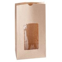 6 lb. Brown Kraft Paper Cookie / Coffee / Donut Bag with Window - 50/Pack