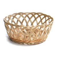 Tablecraft 1135W 9 inch x 3 1/4 inch Natural Open Weave Round Rattan Basket - 12/Pack
