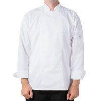 Mercer Culinary M61010WHS Genesis Unisex 36 inch Small Customizable White Double Breasted Traditional Neck Long Sleeve Chef Jacket with Traditional Buttons
