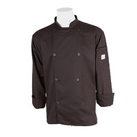Mercer M61010BKM Genesis Unisex 40 inch Medium Black Double Breasted Traditional Neck Long Sleeve Chef Jacket with Traditional Buttons