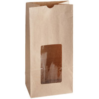 8 lb. Brown Kraft Paper Cookie / Coffee / Donut Bag with Window - 50/Pack