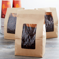 8 lb. Brown Kraft Paper Cookie / Coffee / Donut Bag with Window   - 50/Pack